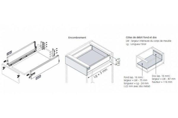 Schéma kit tiroir anglaise